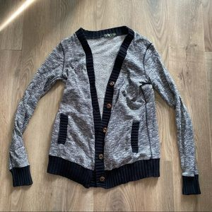 Roots Grey Cardigan with Buttons & Black Trim